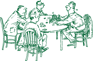 Four men playing poker, one man gathering all the winnings